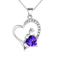 925 Sterling Silber Anhänger, Herz, Wort Liebe, mit kubischem Zirkonia, violett, 14x25mm, Bohrung:ca. 3x4mm, 2PCs/Menge, verkauft von Menge