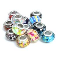 European Acrylperlen, Acryl, Rondell, Platinfarbe platiniert, verschiedene Muster für Wahl & Messing-Dual-Core ohne troll & facettierte, 9x14mm, Bohrung:ca. 5mm, 20PCs/Tasche, verkauft von Tasche