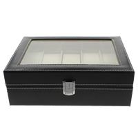 PU Leder Uhrkasten, mit Schwamm & Baumwollsamt & Glas & Holz, Rechteck, 253x80x202mm, verkauft von PC