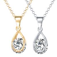 Kristall Zinklegierung Halskette, mit Kristall, Tropfen, plattiert, Oval-Kette & facettierte & mit Strass, keine, frei von Nickel, Blei & Kadmium, 17x5mm, verkauft per ca. 16.5 ZollInch Strang