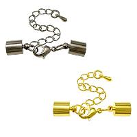 Messing Klaue Karabinerverschluss, plattiert, mit Endkappe, keine, frei von Nickel, Blei & Kadmium, 40mm,7x11mm, Bohrung:ca. 6.5mm, 100SetsSatz/Menge, verkauft von Menge