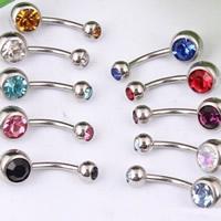 Edelstahl -Bauch-Ring, mit Strass, gemischte Farben, 5mm, 8mm, 50PCs/Menge, verkauft von Menge