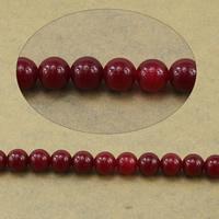 Marmor Naturperlen, natürliche Marmor, rund, rot, 6mm, Bohrung:ca. 0.8mm, Länge:ca. 15.5 ZollInch, 10SträngeStrang/Menge, ca. 65PCs/Strang, verkauft von Menge