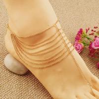 Mode Toe Fußkette, Eisen, mit Verlängerungskettchen von 5cm, goldfarben plattiert, Twist oval & 8-Strang, frei von Nickel, Blei & Kadmium, 400mm, Länge:ca. 8. ZollInch, 3SträngeStrang/Tasche, verkauft von Tasche