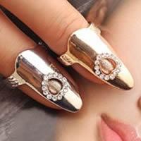 Zink-Legierung Nail -Finger-Ring, Zinklegierung, Herz, plattiert, mit Strass, keine, frei von Nickel, Blei & Kadmium, 28x10mm, Größe:3, verkauft von PC