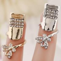 Zink-Legierung Nail -Finger-Ring, Zinklegierung, Schmetterling, plattiert, mit Strass, keine, frei von Nickel, Blei & Kadmium, 32x10mm, Größe:3, verkauft von PC