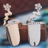 Zink-Legierung Nail -Finger-Ring, Zinklegierung, Blume, plattiert, mit Strass, keine, frei von Nickel, Blei & Kadmium, 40x12mm, Größe:3, verkauft von PC