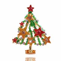 Weihnachten Broschen, Zinklegierung, Weihnachtsbaum, goldfarben plattiert, Weihnachtsschmuck & Emaille & mit Strass, frei von Nickel, Blei & Kadmium, 54x41mm, 10PCs/Tasche, verkauft von Tasche