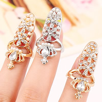 Zink-Legierung Nail -Finger-Ring, Zinklegierung, mit ABS-Kunststoff-Perlen & Glas, Krone, plattiert, facettierte & mit Strass, keine, frei von Nickel, Blei & Kadmium, 35x15mm, Größe:2, verkauft von PC
