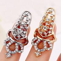 Zink-Legierung Nail -Finger-Ring, Zinklegierung, Krone, plattiert, mit Strass, keine, frei von Nickel, Blei & Kadmium, 55x18mm, Größe:2, verkauft von PC