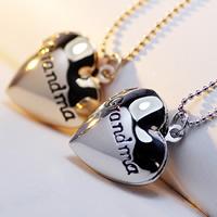 Mode Medaillon Halskette, Messing, mit Verlängerungskettchen von 2lnch, Herz, Wort Oma, plattiert, mit Foto-Medaillon & Kugelkette & Emaille, keine, frei von Nickel, Blei & Kadmium, 23x19mm, verkauft per ca. 17 ZollInch Strang