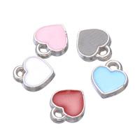 Zinklegierung Herz Anhänger, versilbert, Emaille, keine, frei von Nickel, Blei & Kadmium, 7x8mm, Bohrung:ca. 1.2mm, 500PCs/Menge, verkauft von Menge