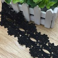 Spitzenbesatz, Polyester, Blume, schwarz, 73mm, 30WerftenHof/Menge, verkauft von Menge