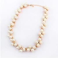 Plastik-Perlenkette, Zinklegierung, mit ABS-Kunststoff-Perlen, mit Verlängerungskettchen von 5cm, goldfarben plattiert, mit Strass, weiß, frei von Nickel, Blei & Kadmium, 400mm, verkauft per ca. 15.5 ZollInch Strang