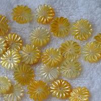 Haarschmuck DIY Ergebnisse, Gelbe Muschel, Blume, natürlich, 15mm, Bohrung:ca. 1mm, 10PCs/Menge, verkauft von Menge