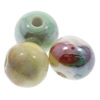Porzellan Schmuckperlen, rund, Handzeichnung, keine, 10mm, Bohrung:ca. 2mm, 100PCs/Tasche, verkauft von Tasche