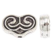 Zinklegierung Herz Perlen, antik silberfarben plattiert, frei von Blei & Kadmium, 15x10x4mm, Bohrung:ca. 2mm, ca. 30PCs/Tasche, verkauft von Tasche