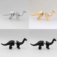 Zinklegierung Cartoon-Split-Ohrring, Edelstahl Stecker, Dinosaurier, plattiert, mit Strass, keine, frei von Nickel, Blei & Kadmium, 40x13mm, 3PCs/Tasche, verkauft von Tasche