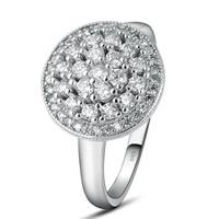 Zirkonia Micro Pave Sterling Silber Ringe, 925 Sterling Silber, platiniert, verschiedene Größen vorhanden & Micro pave Zirkonia, 13x13mm, 3PCs/Tasche, verkauft von Tasche