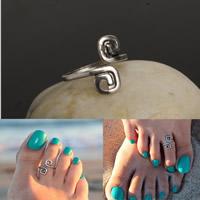 Eisen Zehe Ring, antik silberfarben plattiert, einstellbar, frei von Nickel, Blei & Kadmium, 16mm, Größe:5.5, 3PCs/Tasche, verkauft von Tasche