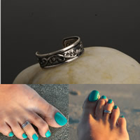 Eisen Zehe Ring, antik silberfarben plattiert, offen, frei von Nickel, Blei & Kadmium, 16mm, Größe:5.5, 3PCs/Tasche, verkauft von Tasche