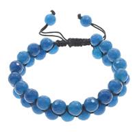 Achat Woven Ball Armbänder, Blauer Achat, mit Gewachsten Baumwollkordel, rund, natürlich, einstellbar & facettierte, 8mm, Länge:ca. 6 ZollInch, 10SträngeStrang/Tasche, verkauft von Tasche
