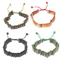 Edelstein Woven Ball Armbänder, mit Gewachsten Baumwollkordel, Zylinder, natürlich, verschiedenen Materialien für die Wahl & einstellbar, 12x6mm, Länge:ca. 6 ZollInch, 10SträngeStrang/Tasche, verkauft von Tasche
