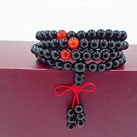 108 Mala Perlen, Schwarzer Achat, mit Roter Achat, rund, buddhistischer Schmuck & 4-Strang, 700mm, 108PCs/Strang, verkauft per ca. 27.5 ZollInch Strang