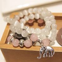 Glasperlen Multilayer Armbänder, Katzenauge, mit Rosenquarz & Zinklegierung, Elephant, antik silberfarben plattiert, Armband  Bettelarmband & 3-Strang, 530mm, verkauft per ca. 20.5 ZollInch Strang