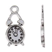 Zinklegierung Uhr Anhänger, Wecker, antik silberfarben plattiert, frei von Blei & Kadmium, 8x19x2mm, Bohrung:ca. 1.5mm, ca. 142PCs/Tasche, verkauft von Tasche