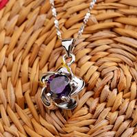 925 Sterling Silber Anhänger, Blume, mit kubischem Zirkonia, violett, 12x19mm, Bohrung:ca. 3x4mm, 2PCs/Menge, verkauft von Menge