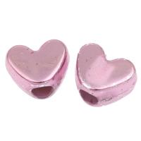 European Acrylperlen, Acryl, Herz, UV plattiert, Fuchsia, 11x9x7mm, Bohrung:ca. 4mm, 2Taschen/Menge, ca. 950PCs/Tasche, verkauft von Menge