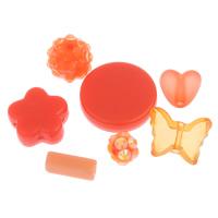 gemischte Materialien Perle, rote Orange, 5x7mm-19x4mm, Bohrung:ca. 1-2mm, 2Taschen/Menge, ca. 500PCs/Tasche, verkauft von Menge