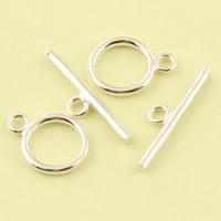 Sterling Silber Knebelverschluss, 925 Sterling Silber, 11.6mm, 22.2x2mm, Bohrung:ca. 1.8mm, 15SetsSatz/Menge, verkauft von Menge