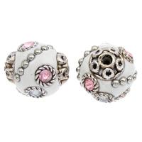 Indonesien Perlen, mit Zinklegierung, rund, antik silberfarben plattiert, mit Strass, 17x15mm, Bohrung:ca. 2mm, 100PCs/Tasche, verkauft von Tasche