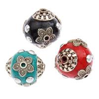 Indonesien Perlen, mit Zinklegierung, rund, plattiert, gemischte Farben, 15x14mm, Bohrung:ca. 1mm, 500PCs/Tasche, verkauft von Tasche