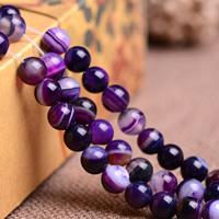 Natürliche Streifen Achat Perlen, rund, verschiedene Größen vorhanden, violett, Grade AAAAAA, Bohrung:ca. 1mm, verkauft per ca. 15.5 ZollInch Strang