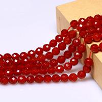 Natürlich rote Achat Perlen, Roter Achat, rund, verschiedene Größen vorhanden & facettierte, Bohrung:ca. 1mm, verkauft per ca. 15.5 ZollInch Strang