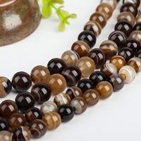 Natürliche Streifen Achat Perlen, rund, verschiedene Größen vorhanden, Grade AAAAA, Bohrung:ca. 1mm, verkauft per ca. 15.5 ZollInch Strang