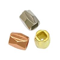 Messing Schmuckperlen, plattiert, keine, frei von Nickel, Blei & Kadmium, 3x3.50mm, Bohrung:ca. 1.5mm, 1000PCs/Menge, verkauft von Menge