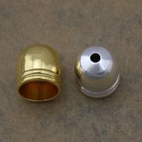 Messing Endkappe, plattiert, keine, frei von Nickel, Blei & Kadmium, 9x10mm, Bohrung:ca. 2mm, 7.5mm, 500PCs/Menge, verkauft von Menge