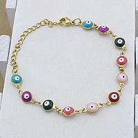 Evil Eye Schmuck Armband, Edelstahl, mit Verlängerungskettchen von 2lnch, blöser Blick, goldfarben plattiert, Bar-Kette & Emaille, farbenfroh, 11x6x4mm, verkauft per ca. 6 ZollInch Strang