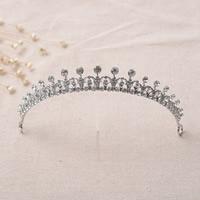 Krone, Zinklegierung, Platinfarbe platiniert, für Braut & mit Strass, frei von Blei & Kadmium, 150mm, 3PCs/Tasche, verkauft von Tasche