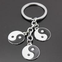 Zinklegierung Schlüsselanhänger, mit Eisen Ring, flache Runde, Platinfarbe platiniert, Tai Ji & Emaille, frei von Blei & Kadmium, 20mm, Bohrung:ca. 32mm, Länge:ca. 3-3.5 ZollInch, 3SträngeStrang/Tasche, verkauft von Tasche