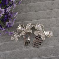 Braut Dekoratives Haarkämmchen, Zinklegierung, mit Glas, Schmetterling, silberfarben plattiert, facettierte & mit Strass, frei von Blei & Kadmium, 120x70x25mm, 3PCs/Tasche, verkauft von Tasche