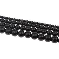 Mode Glasperlen, Glas, rund, verschiedene Größen vorhanden, schwarz, Bohrung:ca. 1mm, verkauft von Strang