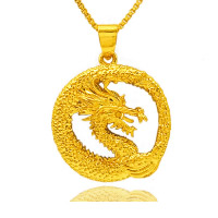 24 k-Gold überzogene hängende Farbe, Messing, Drachen, 24 K vergoldet, Vakuum Protektor Farbe, 24x26mm, Bohrung:ca. 3x5mm, 10PCs/Menge, verkauft von Menge