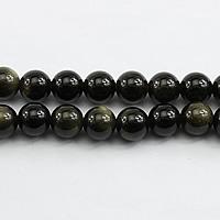 Schwarze Obsidian Perlen, Schwarzer Obsidian, rund, verschiedene Größen vorhanden, Bohrung:ca. 1mm, Länge:ca. 15.5 ZollInch, verkauft von Menge