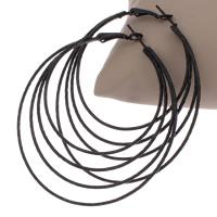 Messing Kreolen, Spritzlackierung, schwarz, frei von Nickel, Blei & Kadmium, 62x65x1mm, verkauft von Paar