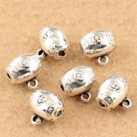 Messing Stiftöse Perlen, Trommel, antik silberfarben plattiert, frei von Blei & Kadmium, 10x10mm, Bohrung:ca. 1.5mm, verkauft von PC
